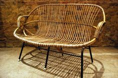 Vintage Rattan Sofa Paris Store, Rattan Sofa, French Furniture, Vintage  Furniture, Vintage