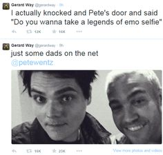 andy hurley, fall out boy, gerard way, joe trohman, my chemical romance, patrick stump, pete wentz, legends of emo selfie