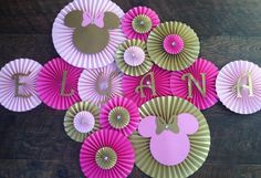 Hey, I found this really awesome Etsy listing at https://www.etsy.com/listing/226844921/minnie-mouse-themed-paper-rosettes