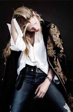 denim and embellished black jacket, white shirt