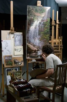 Shane Wolf painting in art studio The Grand Central Academy of Art Art Studio Design, My Art Studio, Artist Art, Artist At Work, Landscape Art, Landscape Paintings, Susanoo Naruto, Painters Studio, Wolf Painting