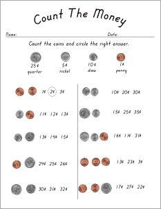 Custom Counting Coins Kindergarten Worksheets | Kindergarten | Math ...
