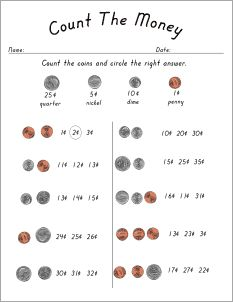 Free Counting Money Worksheets for First Graders | Homeshealth.info