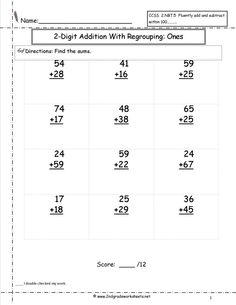 Digit Addition With Regrouping Worksheets 2nd GradeNew Calendar - an image part of Worksheets Kindergarten Math Numbers Worksheets Math Worksheets