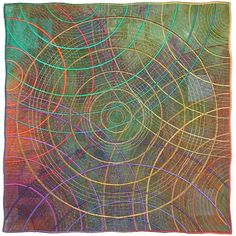 Circles #28 by Michele Hardy. Art quilt made from hand-dyed cotton fabrics that are extensively machine stitched and embroidered with rayon and metallic threads. Signed at lower right. Installation materials included.