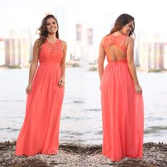 NOW IN CORAL! We love this maxi dress and we love this color even more! Makes such a pretty dress for all special occasions! Shop at savedbythedress.com