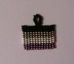 Asexuality flag pendant in black silver grey by FlauschiBeads