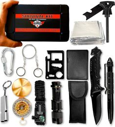 Emergency Survival Kit - 15 in 1 Quality Outdoor Tools for Hiking, Fishing, Hunting & Camping Adventures - Premium Gift for Men & Women Outdoor Survival Gear, Emergency Survival Kit, Outdoor Tools, Survival Knife, Outdoor Camping, Survival Prepping, Survival Supplies, Survival Stuff, Urban Survival