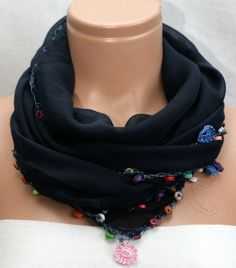Embroidered With Beads Scarf by  Winsomescarves $12.00