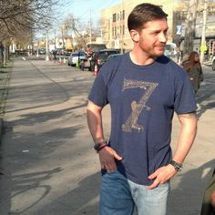 Tom Hardy wearing a Blag T-Shirt.