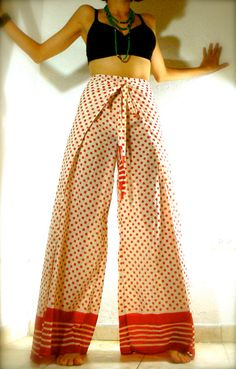 wrap around skirts at frankenmuth | SALE Red dots high waist / wrap around/ skirt pant
