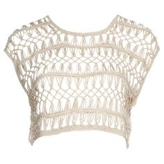 Cream Open Crochet Cropped Top ($16) ❤ liked on Polyvore