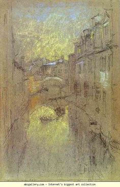 Free art print of Winter Evening by James Abbott Mcneill Whistler. Oil on canvas. Freer Gallery of Art, Washington, DC, USA. James Abbott Mcneill Whistler, Nocturne, Diego Velazquez, Freer Gallery, Inspiration Artistique, Free Art Prints, Venice Travel, Building Art, Land Art