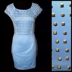 """Periwinkle Blue Stud Stretch Dress Large ‼️PRICE FIRM‼️   Studded Dress Size Large Retail $99  ABSOLUTELY GORGEOUS!!!!  Stunning shade of periwinkle blue. Adorned with small silver studs.  Plenty of stretch for a perfect & comfortable fit!  94% polyester, 6% spandex. Check my closet for many more items including designer clothing, scarves, shoes, handbags, jewelry & more!  Bust approximately 38""""-41"""" Waist 30""""-32"""" Hips 36""""-43"""" Length of garment 34.5"""" Katia Dresses"""