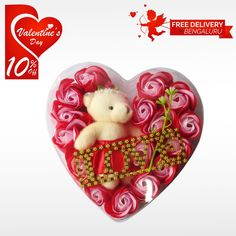 Gift the blissful and cute Heart Shaped Box with Roses and Teddy to your loved ones this Valentine's Day and get 10% off only at #BringHomeFestival.