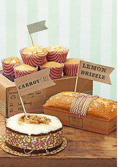 12 x Cake Bake Sale Large Cake Labels, Food Flags Vintage style FREE P&P