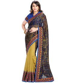 BROWN AND YELLOW DESIGNER #SAREE Fabric: #Brocade, #Georgette Code: SMR1025