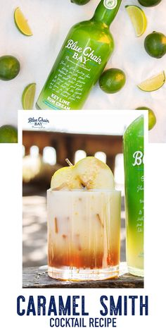 Caramel Smith is an easy three ingredient cocktail recipe perfect for fall and Halloween.   Shake all ingredients together with ice. Strain into rocks glass filled with ice. Garnish glass with caramel syrup and green apple slice.  #bluechairbay #keylimerumcream #BCBHappyHour Rum Recipes, Easy Drink Recipes, Drinks Alcohol Recipes, Non Alcoholic Drinks, Cocktail Recipes, Appetizer Recipes, Cocktails, Refreshing Drinks, Fun Drinks