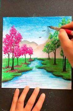 Oil Pastel Drawings Easy, Oil Pastel Art, Oil Pastels, Art Painting Gallery, Art Drawings Beautiful, Crayon Art, Diy Canvas Art, Barn, Paintings