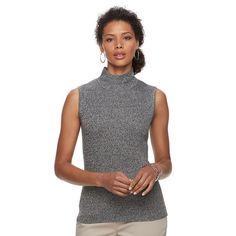 Women's Dana Buchman Sleeveless Turtleneck Top, Size: Medium, Black