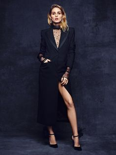 Olivia x BaubleBar Holiday Collection | Olivia Palermo - Monique Lhuillier Tuxedo Coat and Sheer Turtleneck and Jimmy Choo Lilith 120 pump paired w/ the Garbo Earrings