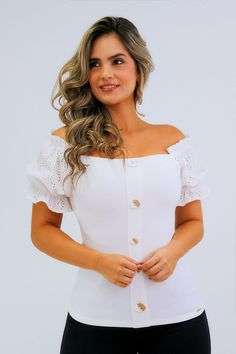 Blusa off Shoulders con Mangas en ojalillo - Unipunto Dress Neck Designs, Boutique, Sewing, Blouse, Cute, Dresses, Women, Fashion, White Women's Hoodies