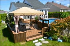 Pool deck and patio ideas images. We specialise in pool deck and patio installation. Above Ground Pool Landscaping, Above Ground Pool Decks, In Ground Pools, Terrasse Design, Patio Design, Backyard Patio, Backyard Landscaping, Gazebo On Deck, Outdoor Decking