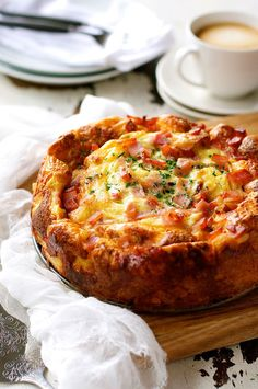 Cheese and Bacon Breakfast Strata Cake (Bread Bake) using store bought french loaf
