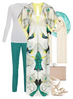 """green floral maxi dress"" by wilypr on Polyvore featuring Raoul, Majestic, Judith Leiber, Smartwool, Jimmy Choo, Accessorize and Temperley London"
