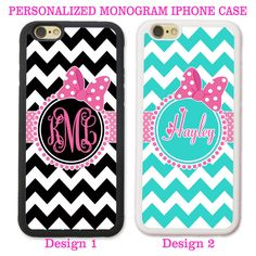 PINK BOW BLACK TEAL CHEVRON CUTE MONOGRAM PHONE CASE COVER FOR IPHONE 7+ 6S 6 SE #UnbrandedGeneric
