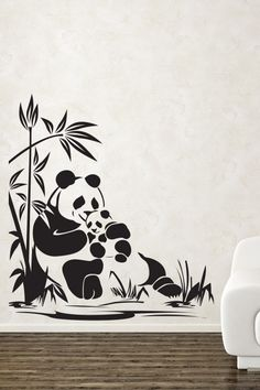 Adorable Panda Wall Sticker. The super adorable panda bear mam and her cute baby securely and restfully on the twig of a trees is a wonderful piece of wall art that magnetizes the attention of viewers right away. http://walliv.com/adorable-panda-wall-sticker-art-decal