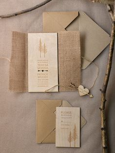 WEDDING INVITATIONS wood / wooden/ woodland theme 59/Woodcut/z