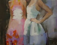 "Saatchi Art Artist: Fanny Nushka Moreaux; oil 2014 Painting ""Two Dresses, 2014"""