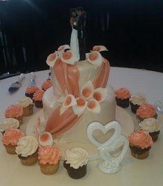 Calumet Bakery Calla Lilly Fondant Swag Wedding Cake