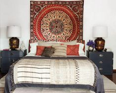 The room has been decorated with an Egyptian wall-hanging, the African pillow dates back from 1950's and the throw is of Indian origin. Description from mydecorative.com. I searched for this on bing.com/images