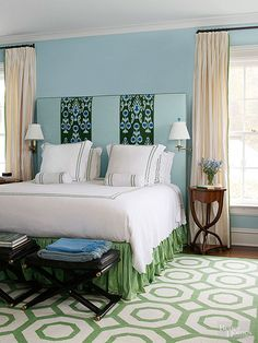 Powder Blue + Fern A foundation of blue and neutrals keeps this bedroom traditional, but variations of green give it flair. Don't be afraid to play with shades in your color scheme, like in this bedroom. A deep emerald shade appears on the headboard, while a lighter fern green colors the bed skirt and rug. The combination looks coordinated because the colors share the same undertone. To teach yourself how to spot these combinations, take a look at paint color strips. All of the colors on a…