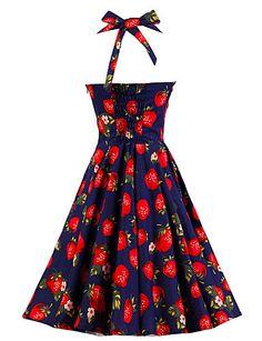 Women's Dark Blue Strawberry Pattern Floral Dress , Vintage Halter 50s Rockabilly Swing Dress 4599007 2016 – $22.99