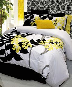 Yellow, grey, black and white bedding  Can be found here  http://www.heirloomlinens.com/product.aspx?productid=247&deptid=31&