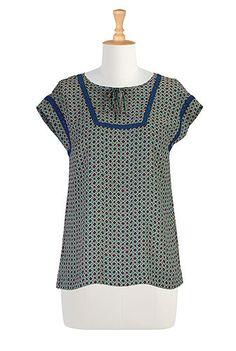 I <3 this Crochet trim georgette top from eShakti