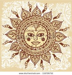 Vintage background with ethnic sun - stock vector