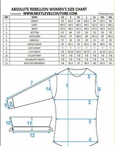 Nextlevel present to you Absolute Rebellion women designer shirts fitment guide chart. We welcome you to use our size chart to aid in finding the correct ladies designer shirt size Shirt Patterns For Women, Dress Shirts For Women, Techniques Couture, Sewing Techniques, Dress Sewing Patterns, Clothing Patterns, Sewing Tutorials, Sewing Hacks, Sewing Tips