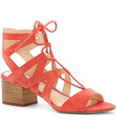 Vince Camuto Fauna Suede Lace-Up Stacked Block Heel Sandals #Dillards