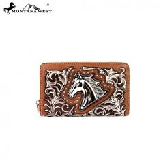 Brown - Horse Medallion Montana West Wallet