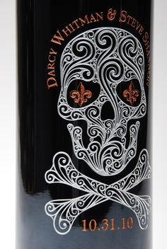 etched and hand-painted wine bottle