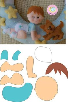 Crawling baby in felt Baby Mobile Felt, Felt Baby, Baby Baby, Felt Doll Patterns, Stuffed Toys Patterns, Baby Crafts, Felt Crafts, Fabric Crafts, Diy Bebe