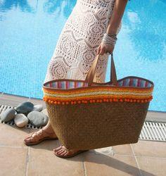 Straw Beach Bag. Large Beach Tote. Straw Bag by DaniellaGeorgiou ...