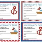 Give out these cute nautical homework passes to reward your students for their hard work. They would go great with a nautical theme classroom! - design-h-ideas 4th Grade Classroom, Classroom Design, Classroom Themes, Classroom Organization, Classroom Management, Class Incentives, Homework Pass, School Themes, School Ideas