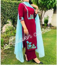 Indian Fashion Dresses, Indian Bridal Outfits, Dress Indian Style, Indian Designer Outfits, Embroidery Suits Punjabi, Kurti Embroidery Design, Embroidery Fashion, Border Embroidery, Latest Dress Design