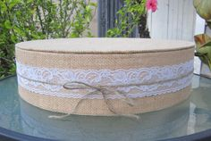 "Burlap and Lace - Round Wedding Cake Stand - 10"" to 24"" wide #BurlapandLaceRoundWeddingCakeStand"