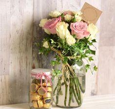 Vintage jar and string flowers